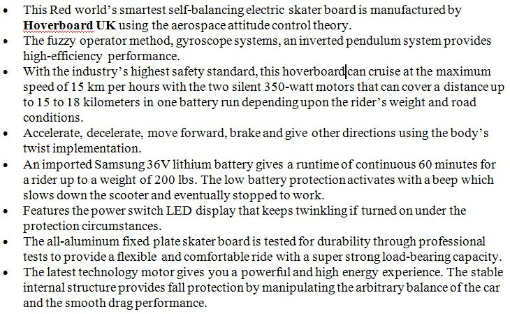 6.5 inch red smart hoverboard5